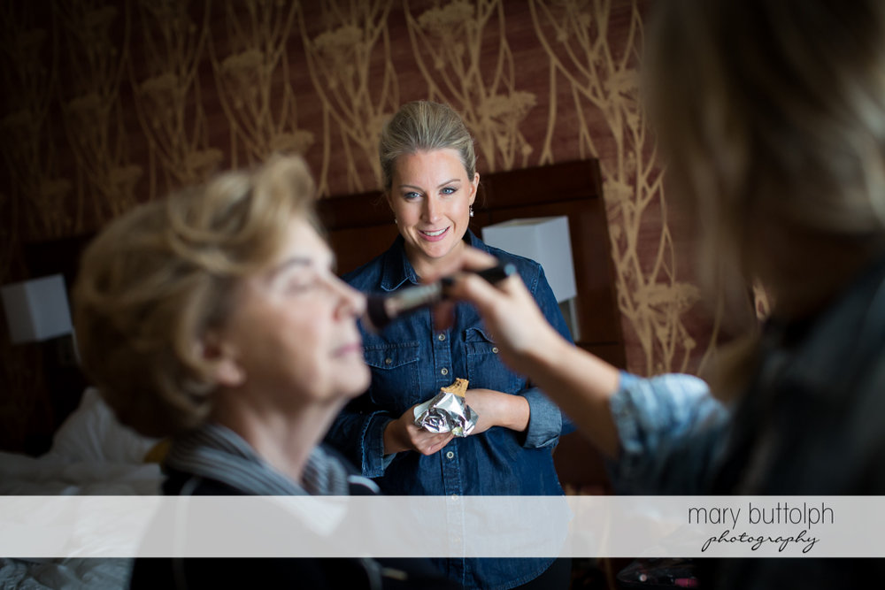Bride's mother meets the makeup brush at SKY Armory Wedding