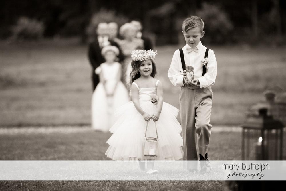 Same sex couple ring bearer and flower girl at Anyela's Vineyards Wedding