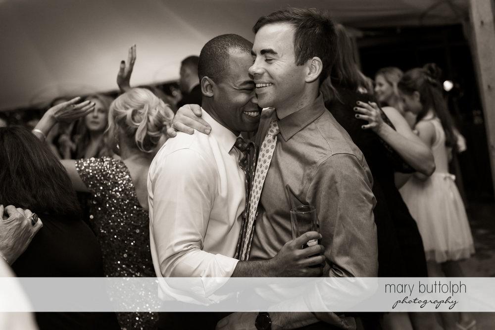 Guests dance at same sex couple's wedding party at Anyela's Vineyards Wedding