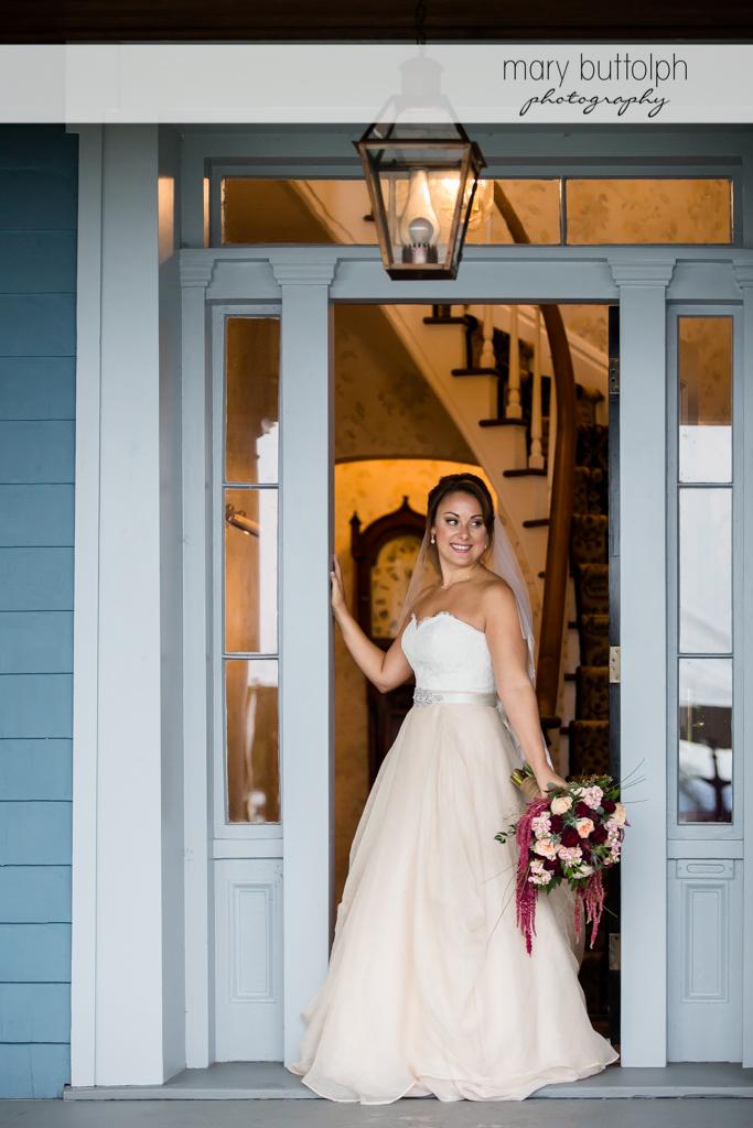 Bride at doorway during Sherwood Inn wedding