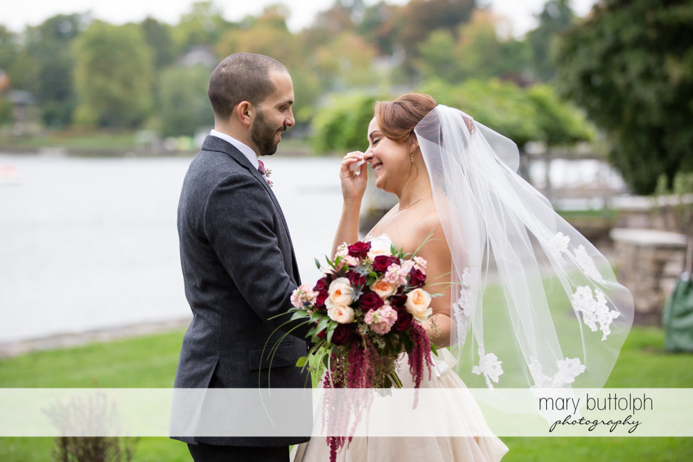 Couple with flowers at Sherwood Inn Wedding