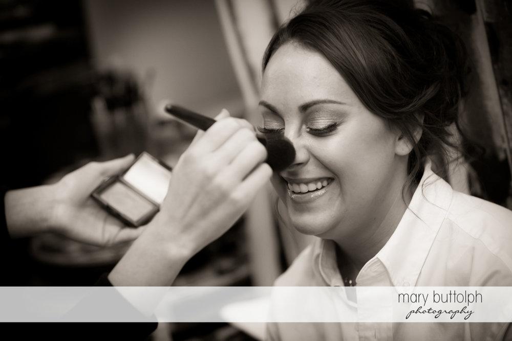 Bride having make-up applied before Sherwood Inn Wedding