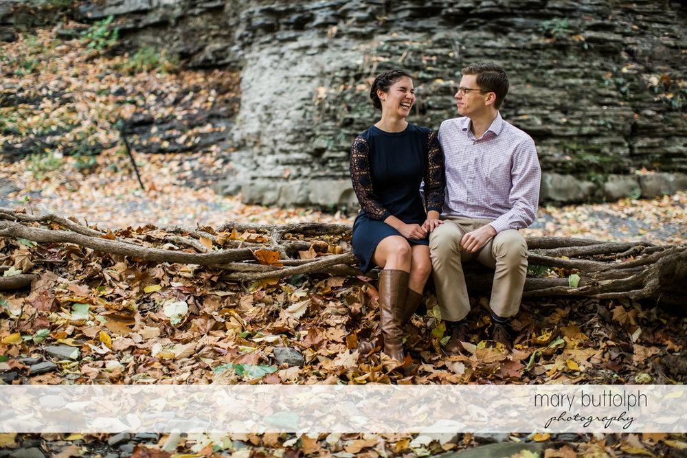 Couple take a break at Cornell University Engagement