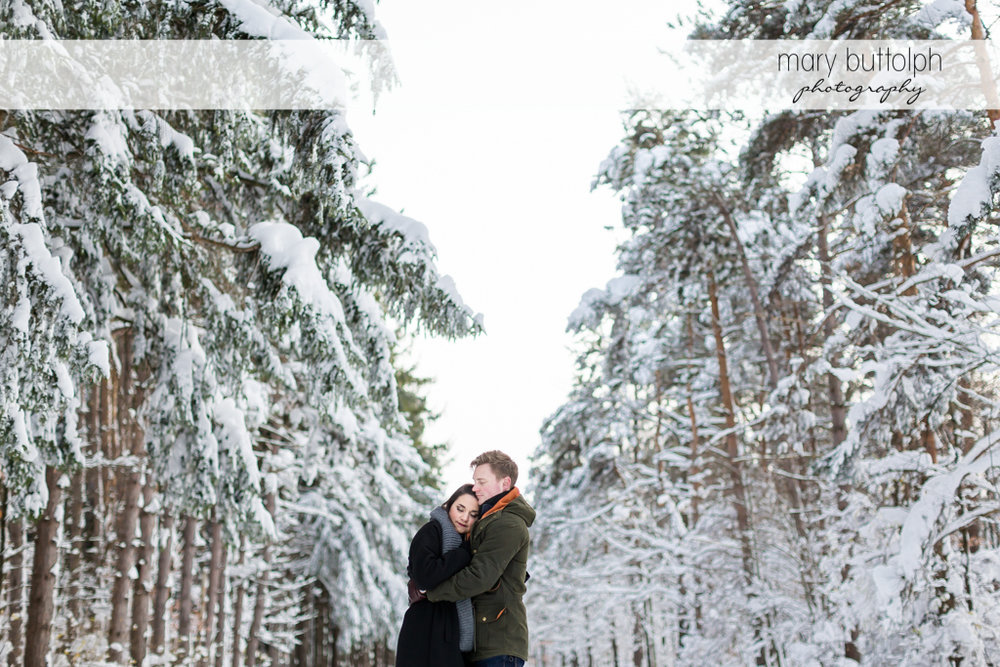 Couple embrace at Highland Forest Engagement