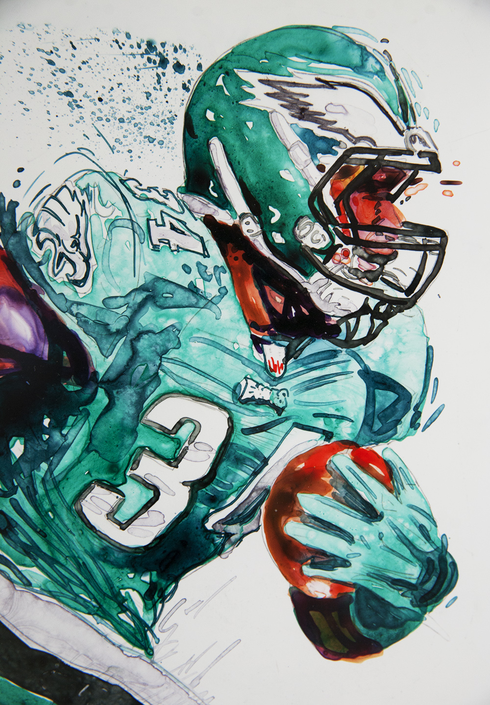 Eagles #34 Kenjon Barner   - Original Watercolor & Ink$595.00