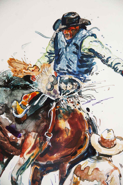 Bronco Busting Cowboys - Original Watercolor & Ink$595.00