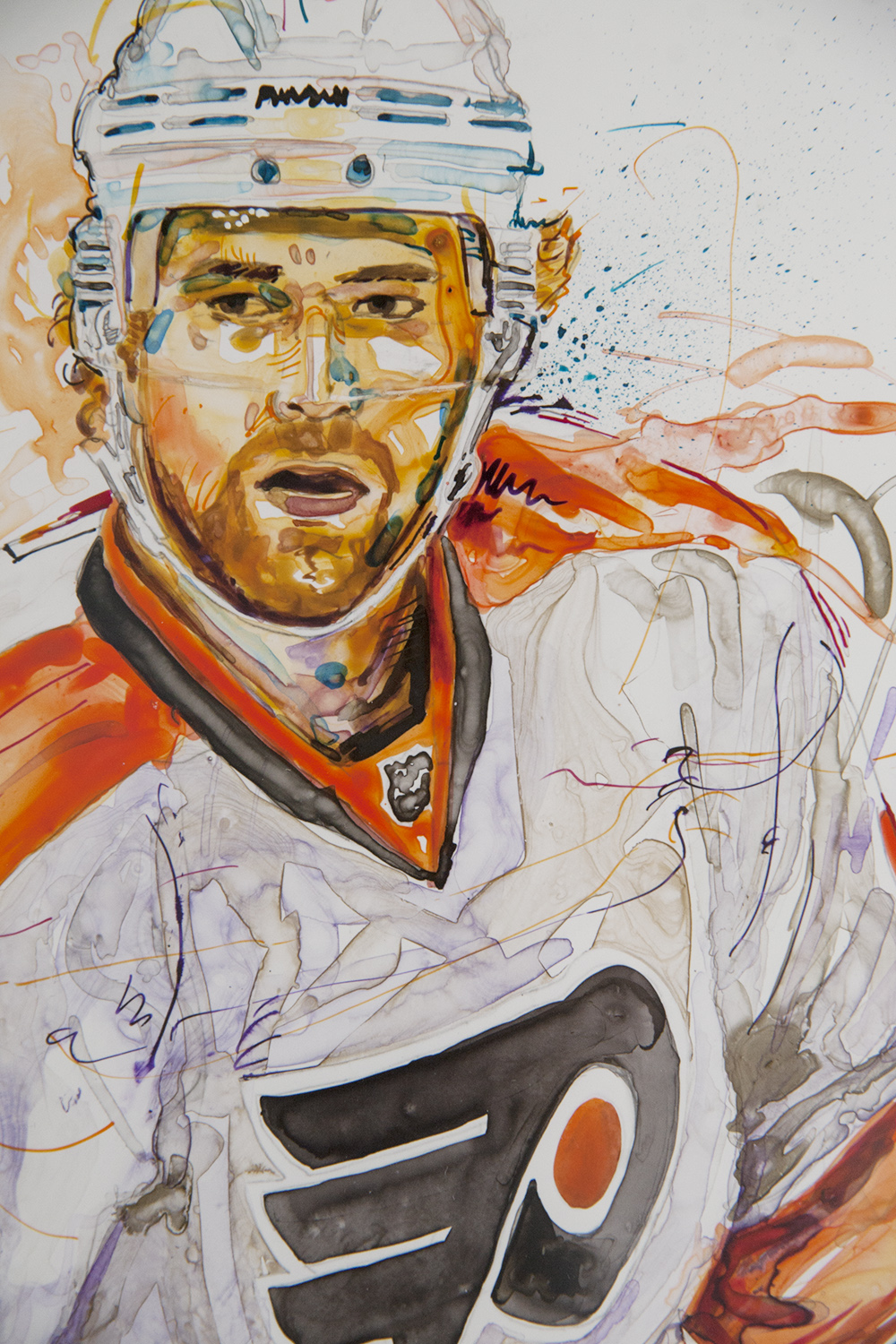 Flyers #28 Claude Giroux  - Original Watercolor & Ink$595.00