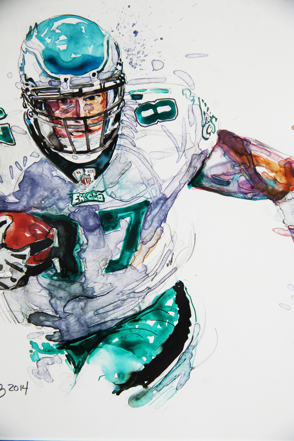 Eagles #87 Brent Celek  - Original Watercolor & Ink$595.00