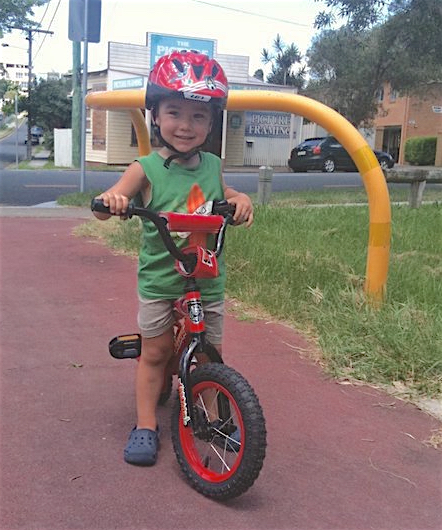 Morgan and his first pedal bike.