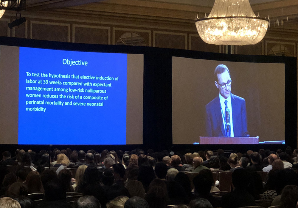 Dr. William Grobman presents research findings of the ARRIVE trial at the SMFM 38th Annual Pregnancy Meeting in Dallas, Texas, on February 1, 2018.