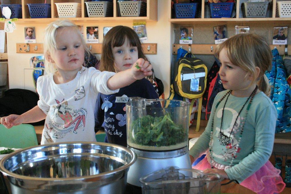 Adding kale to the pesto