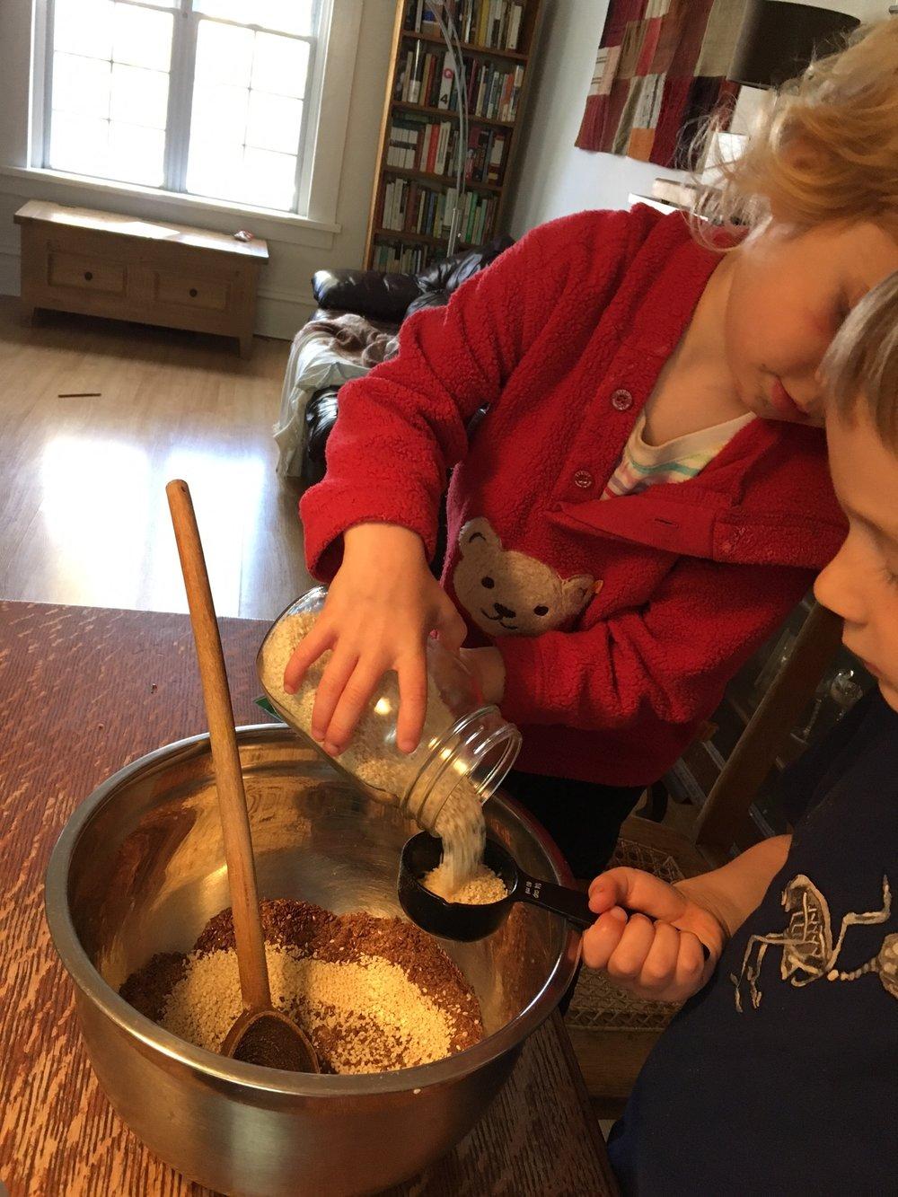 Carefully measuring sesame seeds