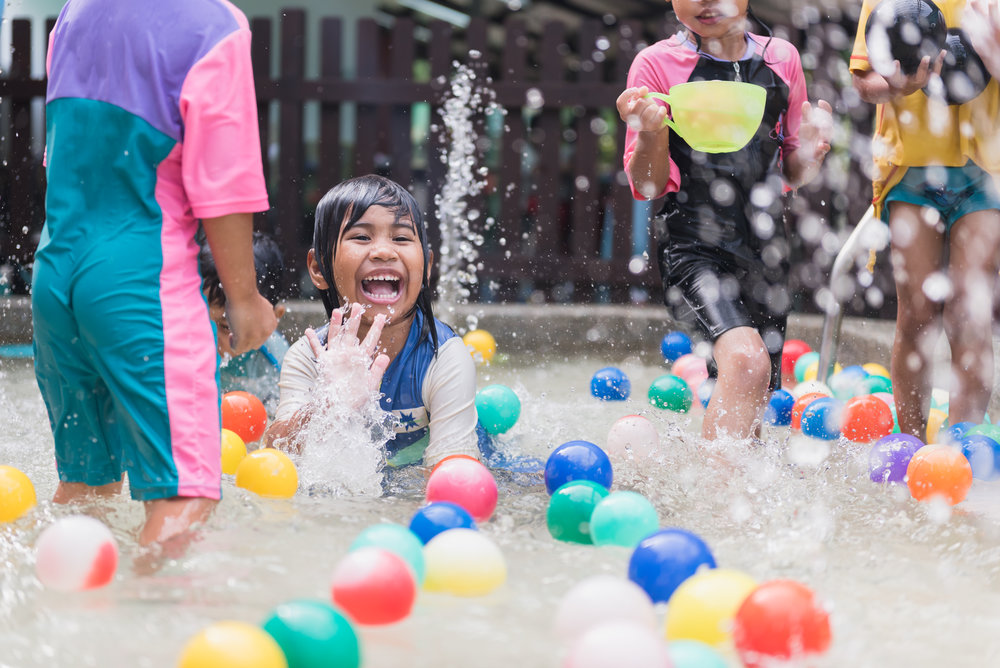 Learning through Play   As children participate in water play, they are able to relax and order their thoughts. The purpose of this learning experience is also to foster a good sense of camaraderie.
