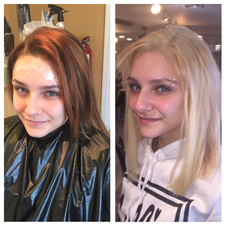 Red hair to blonde