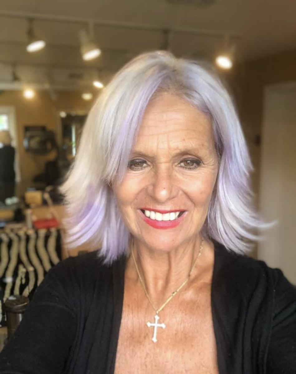 Platinum blonde hair color with purple