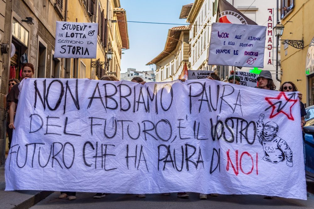 Students protest about the level of education funding in Florence, Italy.