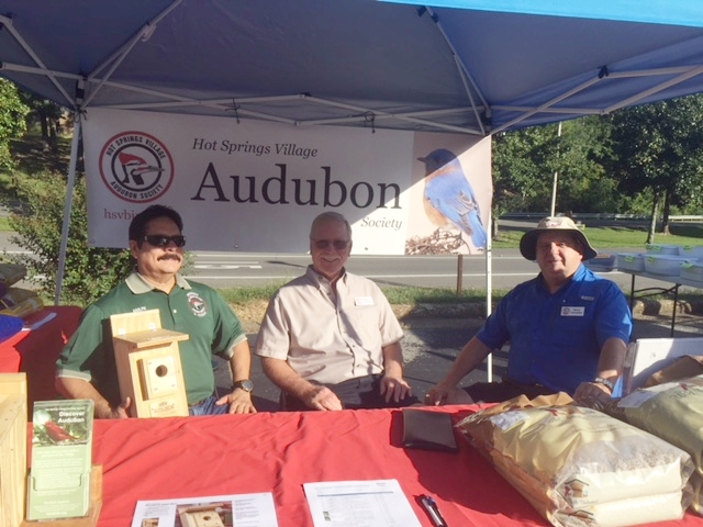 Adolph Juarez, Wayne Krone and Harry Cervenka at Audubon booth, West End Market Place.
