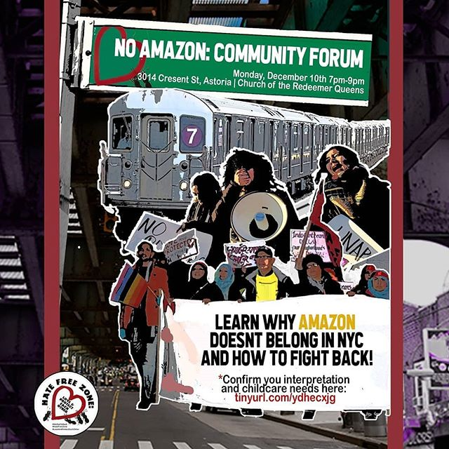 This Monday 12/10 @ 7 pm in Astoria! Come through!! Join @hfzqueens in the fight against #scamazon shout out to @queensneighborhoodsunited for leading this fight in our hood! Come get involved, right now is a crucial time, we CAN and WILL fight this attack against our communities! #loveandprotecteachother #noamazon #noconsessions #whenwefightwewin