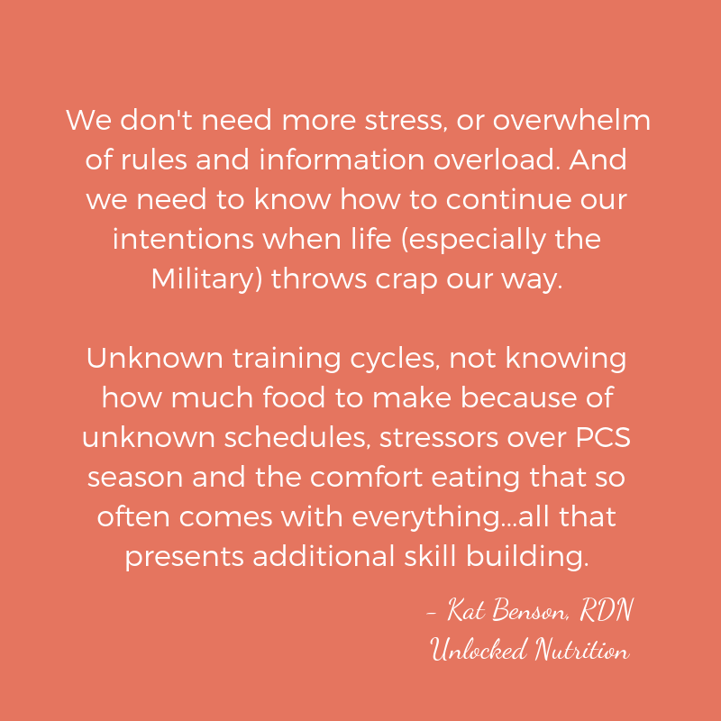 We don't need more stress, or overwhelm of rules and information overload. And we need to know how to continue our intentions when life (especially the Military) throws crap our way. Unknown training cycles, not know (1).png