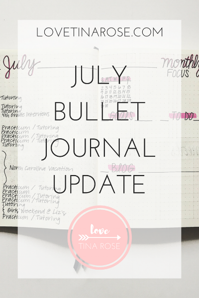 Love Tina Rose July Bullet Journal Update