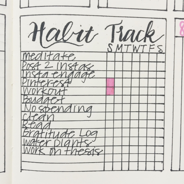 Whenever I complete something on the habit tracker for a day, I color in the box. I love using a little color here!