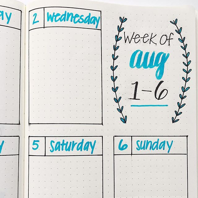 Working on my bullet journal spreads for August!