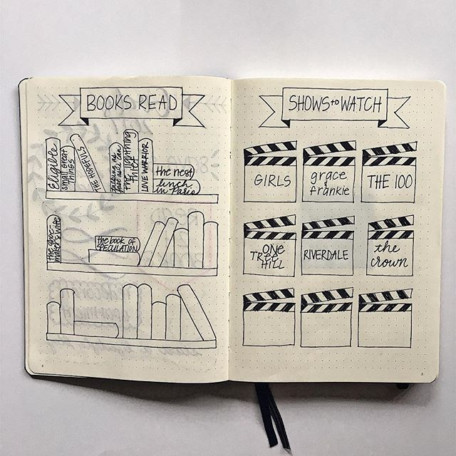 These are some of my favorite pages in my bullet journal to track the books I've read and shows I've watched. Click the link in my bio for more about them!