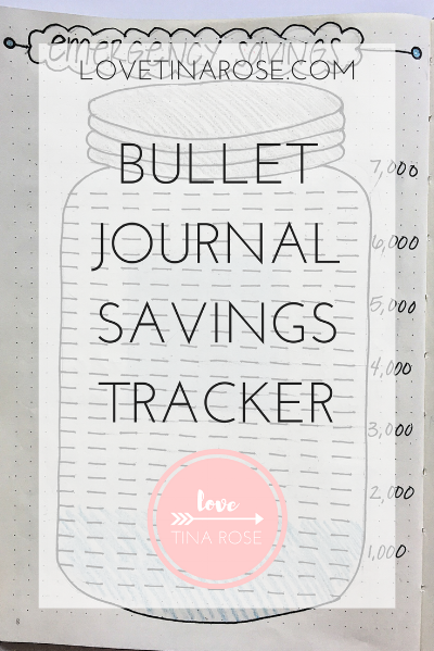 Love Tina Rose Bullet Journal Savings Tracker