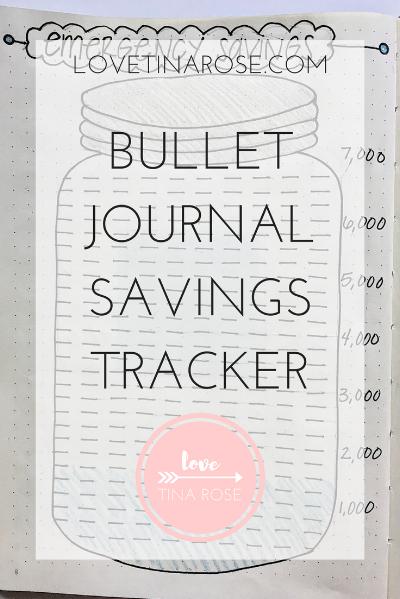 Love Tina Rose Bullet Journal Savings Tracker
