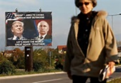Above billboard in Russian town reads:  Let's make the world great again - together.