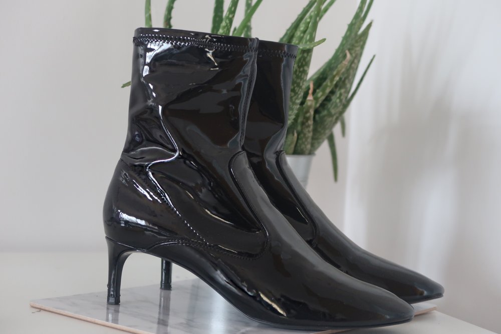 #1 - ZARA PATENT KITTEN HEEL SOCK BOOTS(out of stock- similar here)