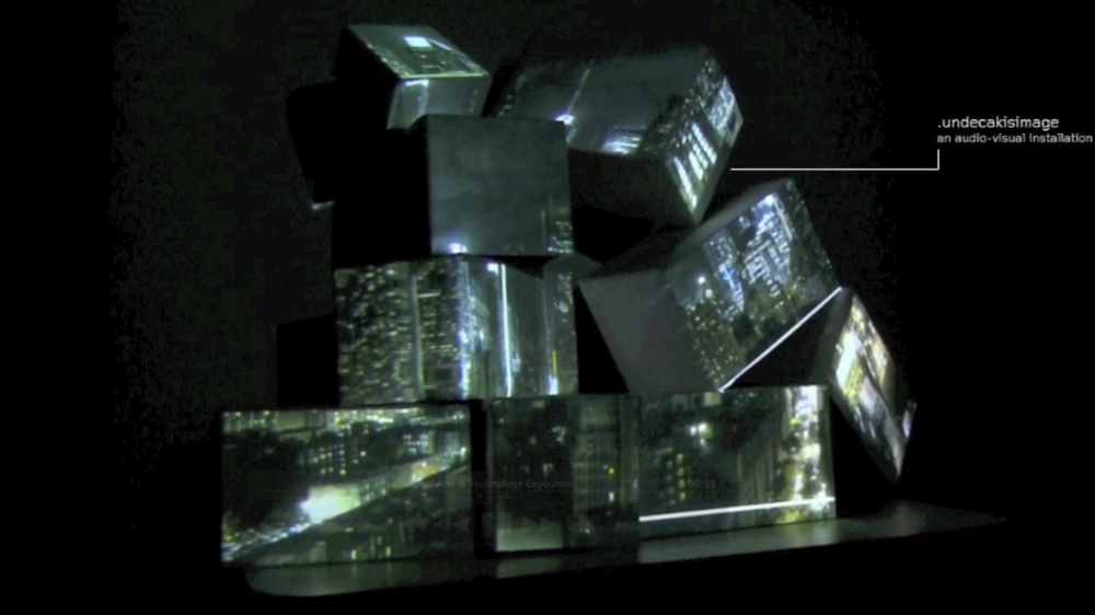 Undecakisimage (2012): projection mapping on 11 quadrilateral surfaces using 1 projector.