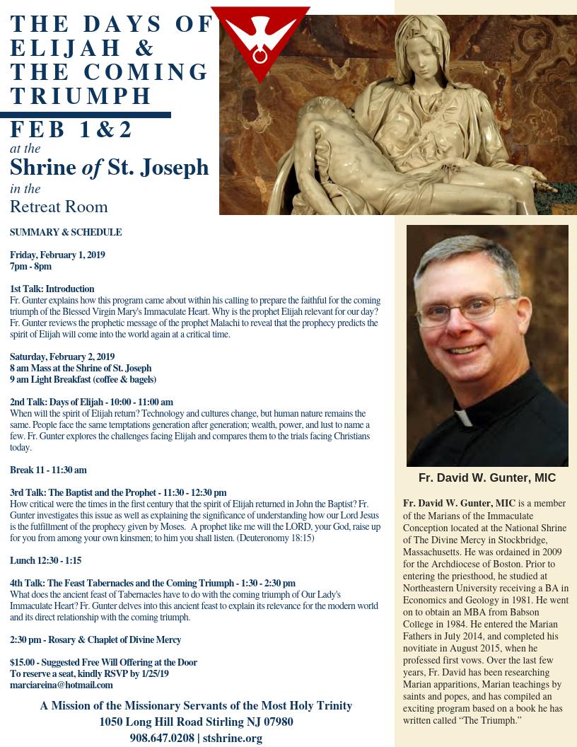 The Days of Elijah & the Coming Triumph — Shrine of Saint Joseph