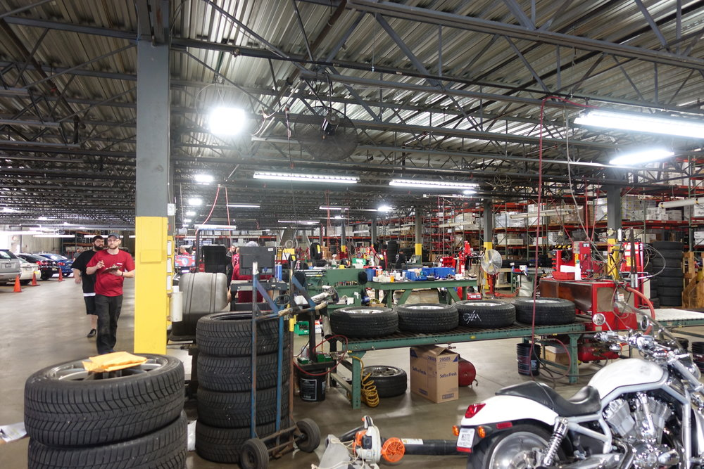 Inside Tire Rack, a massive warehouse and service center.