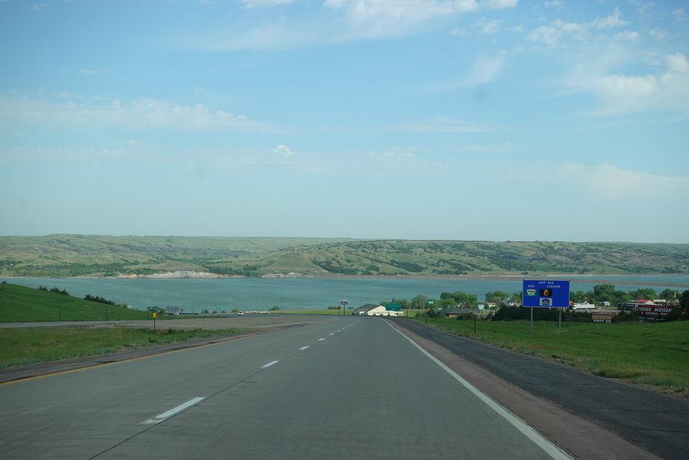 Crossing the Missouri River in South Dakota.