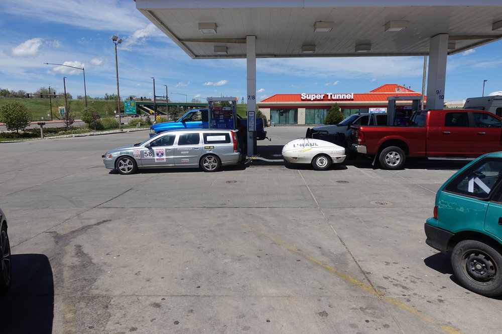 Gas stop right after lunch, before hitting the road.