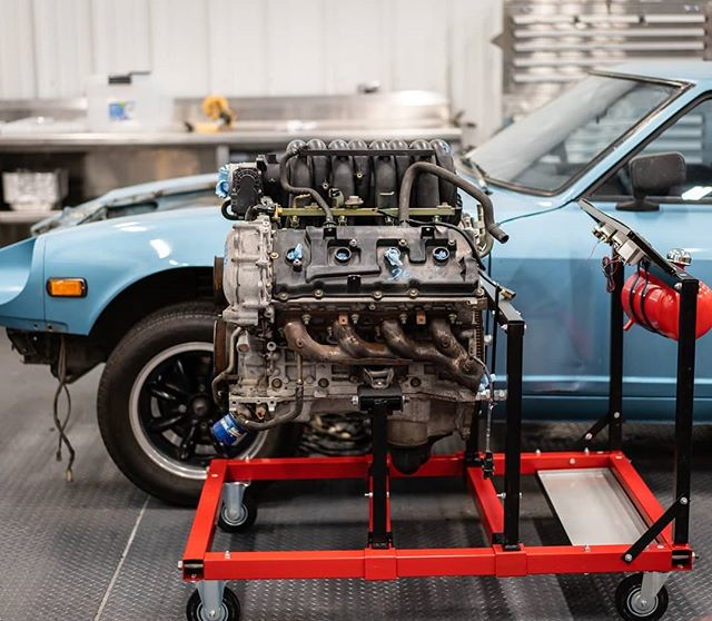Got the VK56 mounted on the test stand! Had to fab up some engine mount adapters since the stand is really made for domestic V8's. I pushed it into position about where I want it in the car, forward/back. Bye bye firewall. . . . #datsun #240z #260z #280z #fairladyz #nissan #nismo #classic #jdm #s30 #racecar #cars #vk56 #v8 #engine #swap #fabrication #carphotography #photooftheday #sony #a7riii