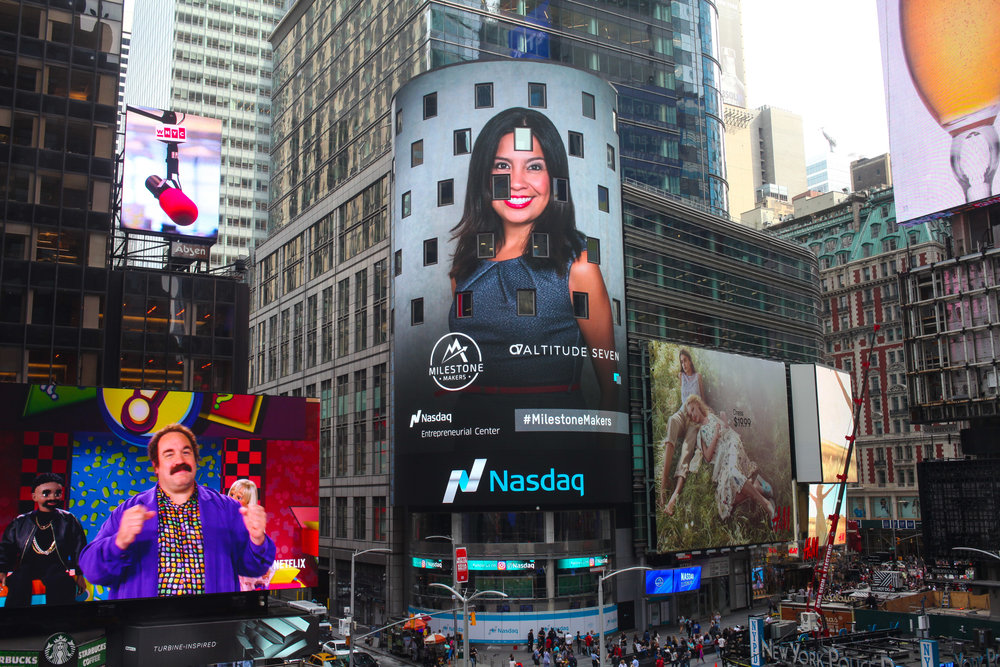 Entrepreneurship - Georgina often says the biggest mountain she has ever climbed is not Everest, but rather starting her own business. In 2017, she completed the Nasdaq Entrepreneurial Center's Milestone Makers Program. Here she is featured in Times Square April 2017 with her previous startup Altitude Seven, which merged with She Ventures in late 2017.
