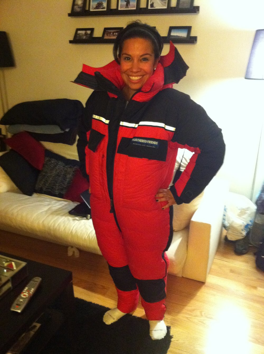 The Down Suit Arrived! Me as a Marshmallow :)