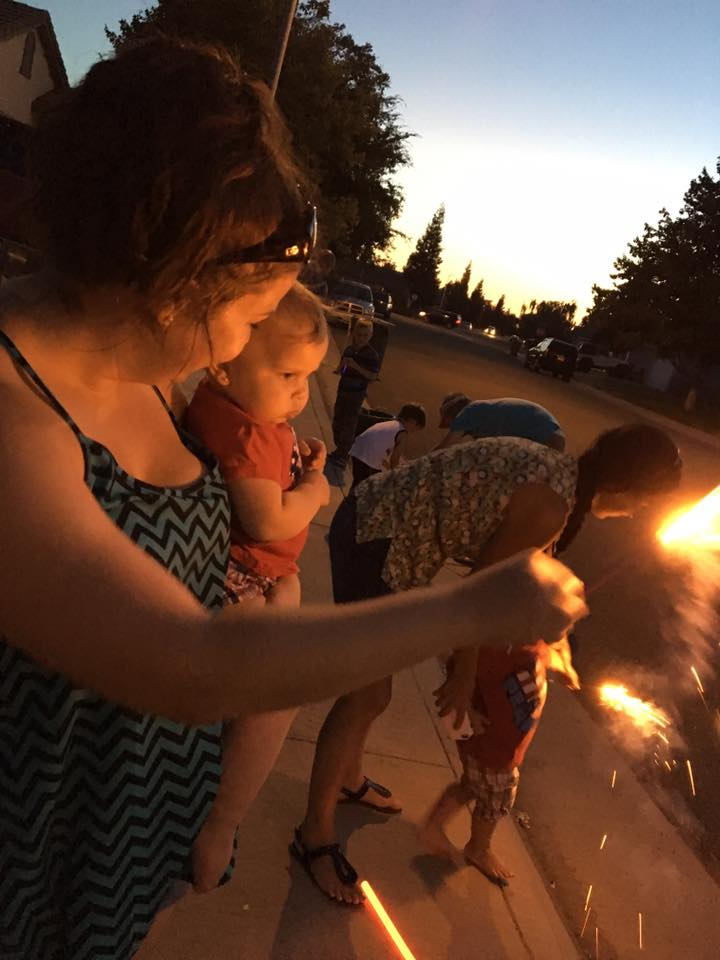 Evelyn- age 1 - first sparkler experience