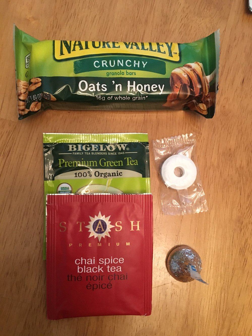 Tea Bags, Granola Bar, Tissues (not pictured), hersey kisses, and some mints