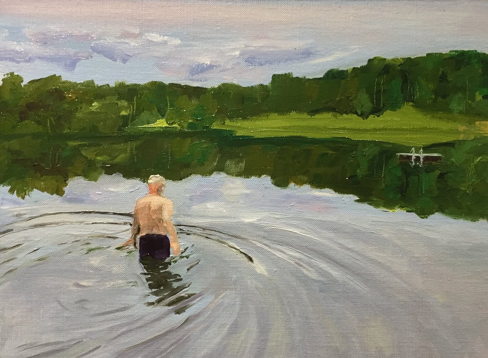 Frank Cooling Off Down At The Lake 2017 Carolina Elena oil on mounted canvas