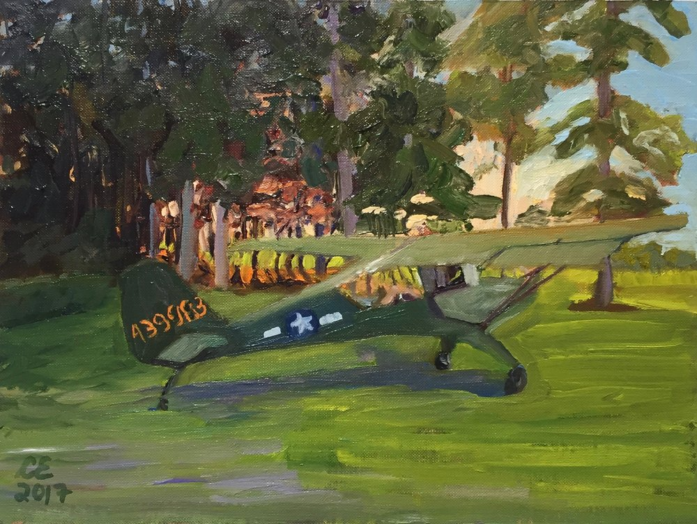 Jim's Airplane 2017 oil on mounted canvas 9'x12""