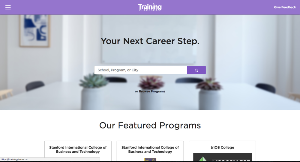 TrainingPlaces - Canada's largest career college network.Built in a completely agile fashion, this site generates passive revenue with lead generation.