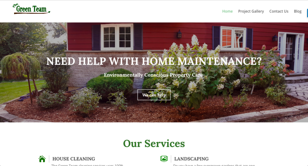 The Green Team - A simple portfolio and lead generation site for The Green Team, environmentally-friendly property maintenance and cleaning.