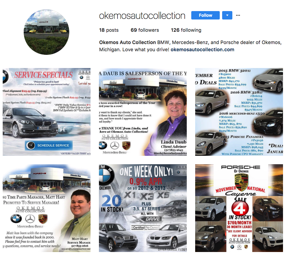 Okemos Auto Collection  - Three different brand stories competing for little to no eyeballs.