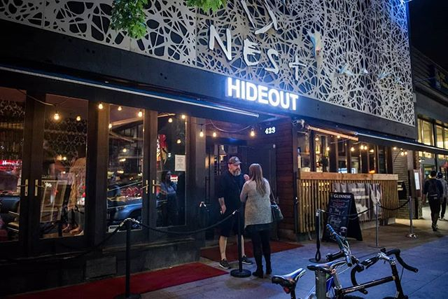 """Were playing at @thehideouttoronto in TORONTO TONIGHT WERE ON AT 10:45.  Address is 423 college St Toronto  Come drink some beers and watch everyone eye roll at the """"heavy band""""  ha ha ha  @hansumdan @darrylmatthews @indieweek @theladclassic @idunamusic @acrosstheboardband @vinylheroband @wildplanes"""