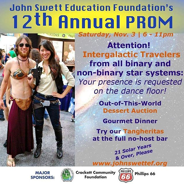 Attention all Intergalactic Travelers! You presence is required on the dance floor!  Dinner, dancing, dessert auction, silent auction. This party has it all! And all for a good cause.  Get your boarding passes now thru the link in our bio!  #jsef #lagunitas #silentauction #scifi #education #cosplay #dinner #danceparty #eastbay #crockettca #rodeoca #martinezca #beniciaca #vallejoca