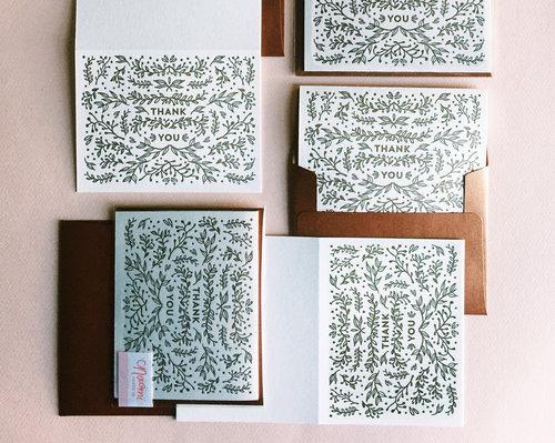 thank you letterpress card naomi paper co