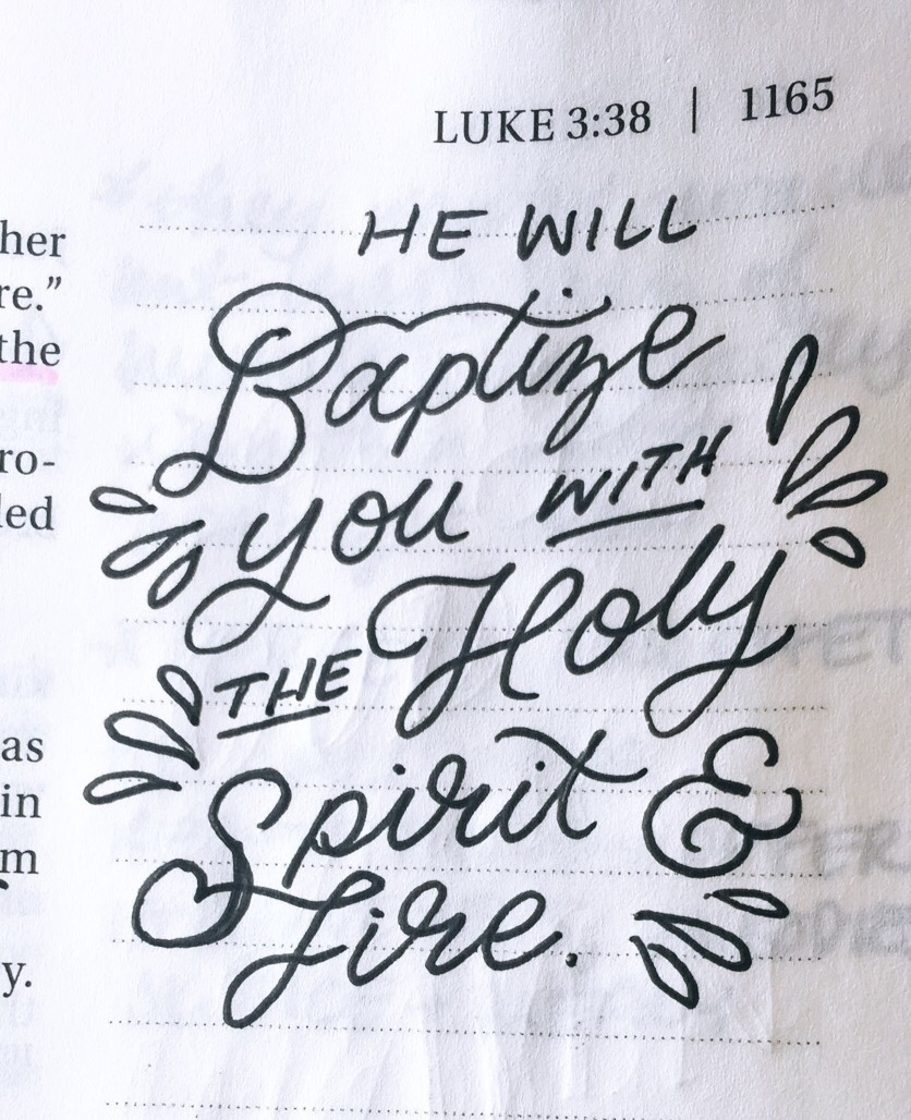 An excerpt from my Bible in a Year Little Lettering project in my own Bible, updated daily on our  Instagram .